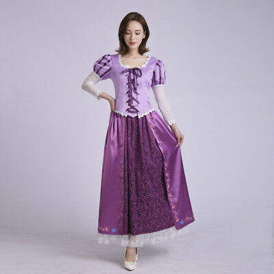 Anime Tangled Rapunzel Princess Costume Dress Lace Cosplay Women Girl Party Gift