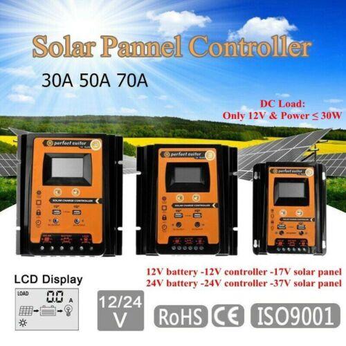 12/24V 30/50/70A MPPT Solar Charge Controller Panel Battery Regulator Dual USB