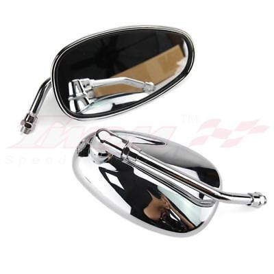 New Chrome Oval Motorcycle Rearview Side Mirrors for Honda Kawasaki Suzuki 10MM