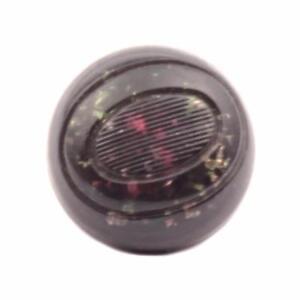 (1) 16mm antique Czech foil marbled green black bicolor lampwork glass button