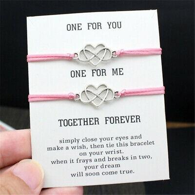 Heart Couples Bracelets Set Infinite Knot Contrast Bracelet Best Friend (Best Friend Jewelry Bracelets)