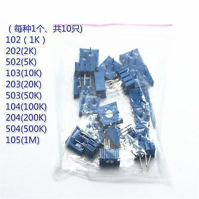 10pcs 10values 3386p Variable Resistor Trimmer Potentiometer Assortment Kit