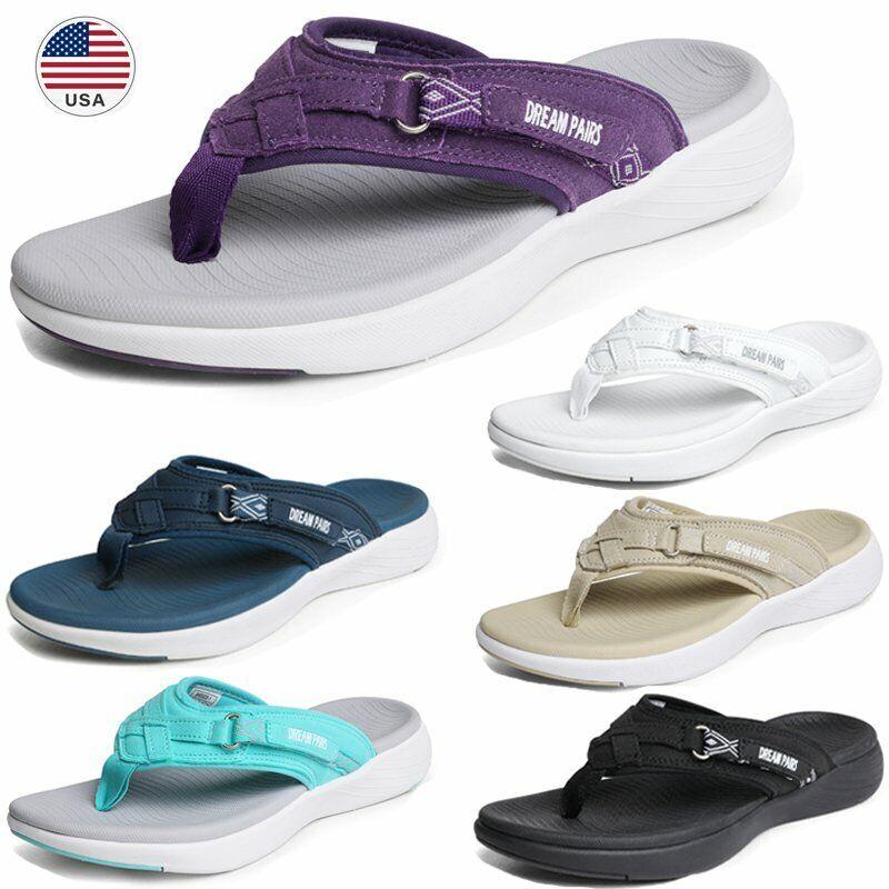 Womens Arch Support Soft Cushion Flip Flops Thong Lightweight Beach Sandals Shoe
