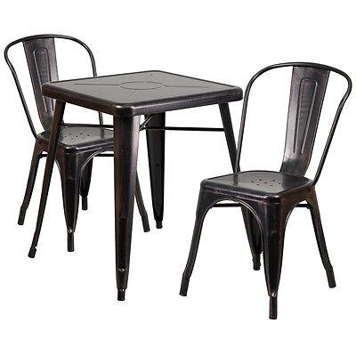 23.75 Industrial Black Antique Gold Metal Indoor-outdoor Table Set W2 Chairs