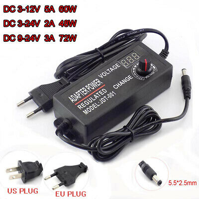 Variable Adjustable Voltage 3-12v 3-24v 9-24v Acdc Power Supply Adapter Display