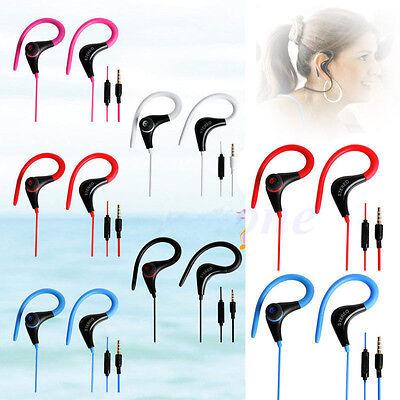 3.5mm Sport Bass Earhook Earphone Headphone Headset with mic For Smart Cellphone