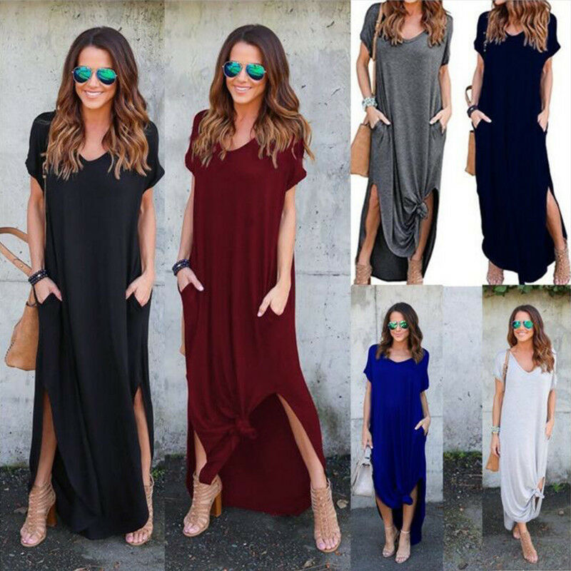 Women T-Shirt Long Maxi Dress Split Evening Party Casual Shi