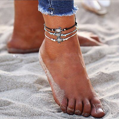 3pcs/set Multiple Layers Anklets Women Turtle Anklet Beach Bracelet Foot Jewelry