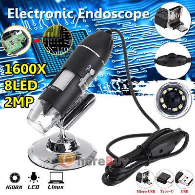 1600x 8 Led Digital Microscope Hd 1080p Camera Usb Magnification Endoscopestand