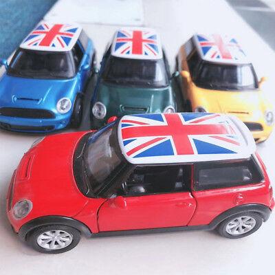1:30 Mini Cooper S UK Flag Metal Diecast Car Model Toy Vehicle Red Kids Gift