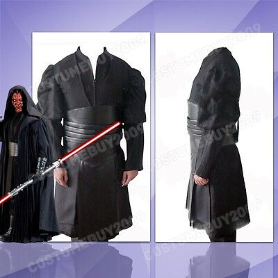 Star Wars Sith Dark Lord Darth Maul Tunic Robe Cloak Cosplay Costume Outfit Suit (Sith Outfit)