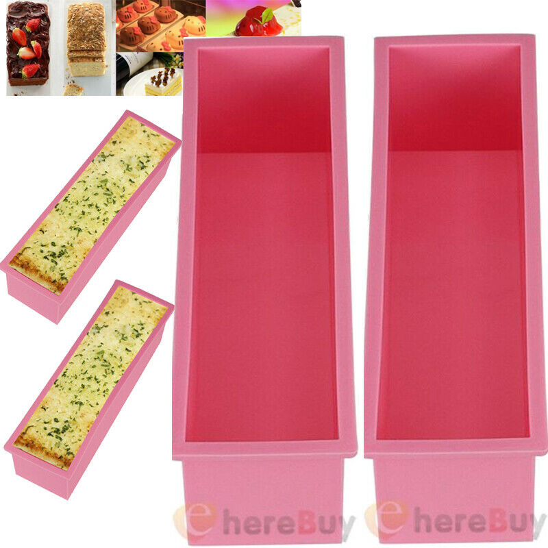 2x 1.2L Rectangle Silicone Soap Mold Box DIY Tools Toast Loaf Baking Cake Molds