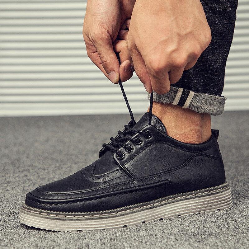Men Formal Dress Shoes Wingtip Oxford Leather Brogue Business Shoes Fashion US