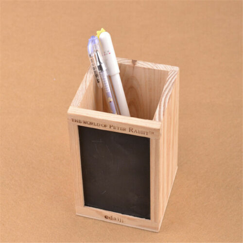 Bamboo Wood Desk Pen Pencil Holder Cup Stand Square Creative