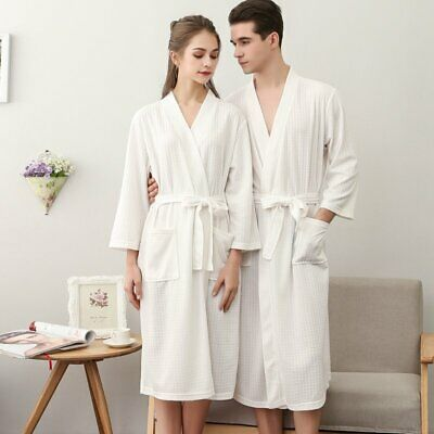 - Womens MENS Cotton Night Robe Sleepwear Waffle Bathrobe Spa Shower Robe Loose