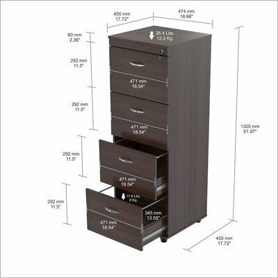 Inval Uffici 4-Drawer Espresso File Cabinet