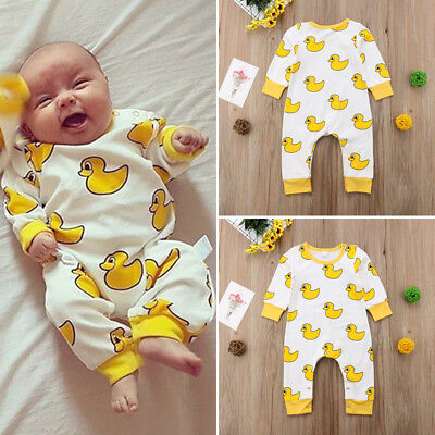 UK Organic Cotton Newborn Baby Boy Girl Cartoon Romper Jumpsuit Outfits Clothes
