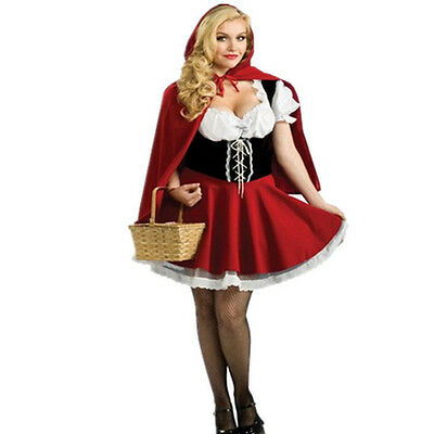Sexy Ladies Little Red Riding Hood Halloween Xmas Costume Fancy Dress Plus Size