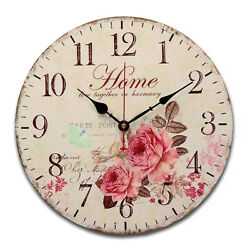rose flowers butterfly Round Creative Wood wall clock ED