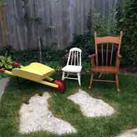 Children's wheel barrow and chairs