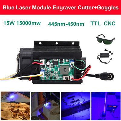 Focusable Diy 15w 450nm 15000mw Blue Laser Module Ttl Cnc Fan 12v With Goggles
