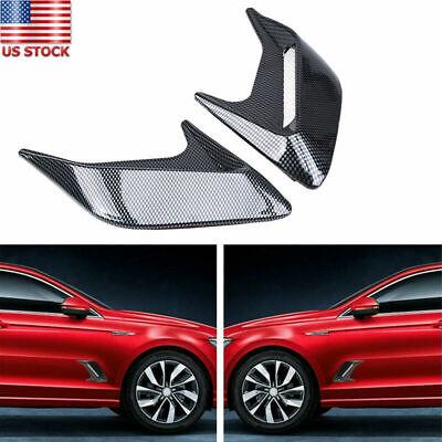 2X Universal Car Air Flow Fender Side Vent Decoration Sticker Carbon Fiber Look