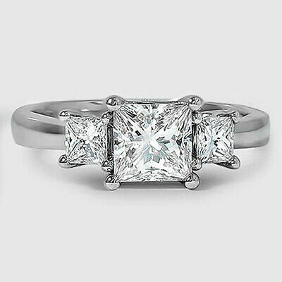 Natural 1.04 ct Princess Cut Three Stone Diamond Engagement Ring  F VVS1