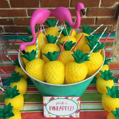 Plastic Pineapple/Coconut Drink Cup With Straw Luau Beach Tropical Party - Coconut Cups