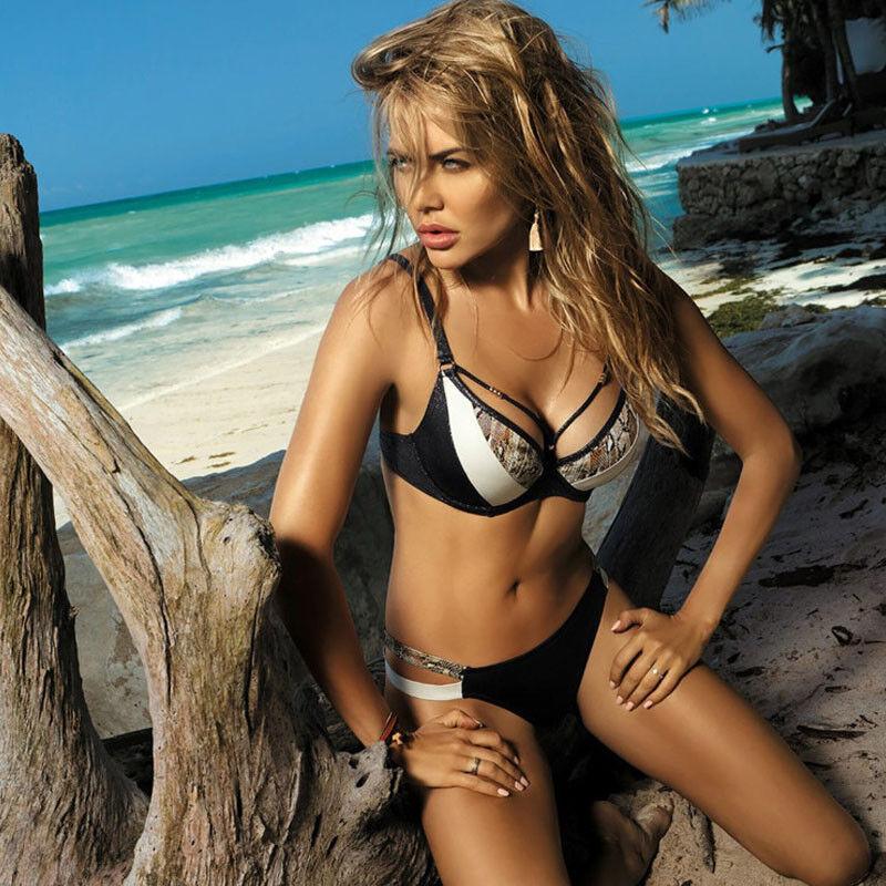 Damen Bikini Set Push Up Badeanzug Strandkleidung Gepolsterter BH Sexy Bademode