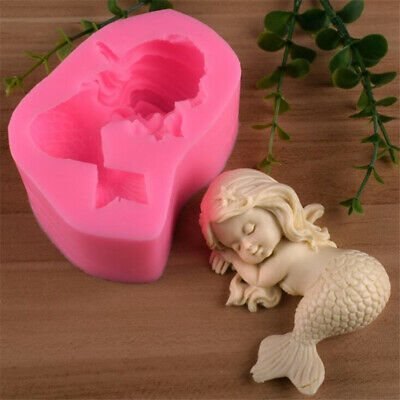 3D Silicone Mermaid Baby Mould Chocolate Fondant Cake Soap Paste Clay Resin Mold (Silicone Soap Mold Baby)