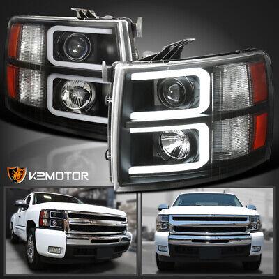 Black 2007-2014 Chevy Silverado 1500 2500 3500 Projector Headlights+LED DRL Tube