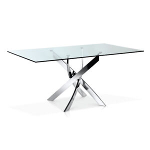 GLASS /CHROME DINING TABLE