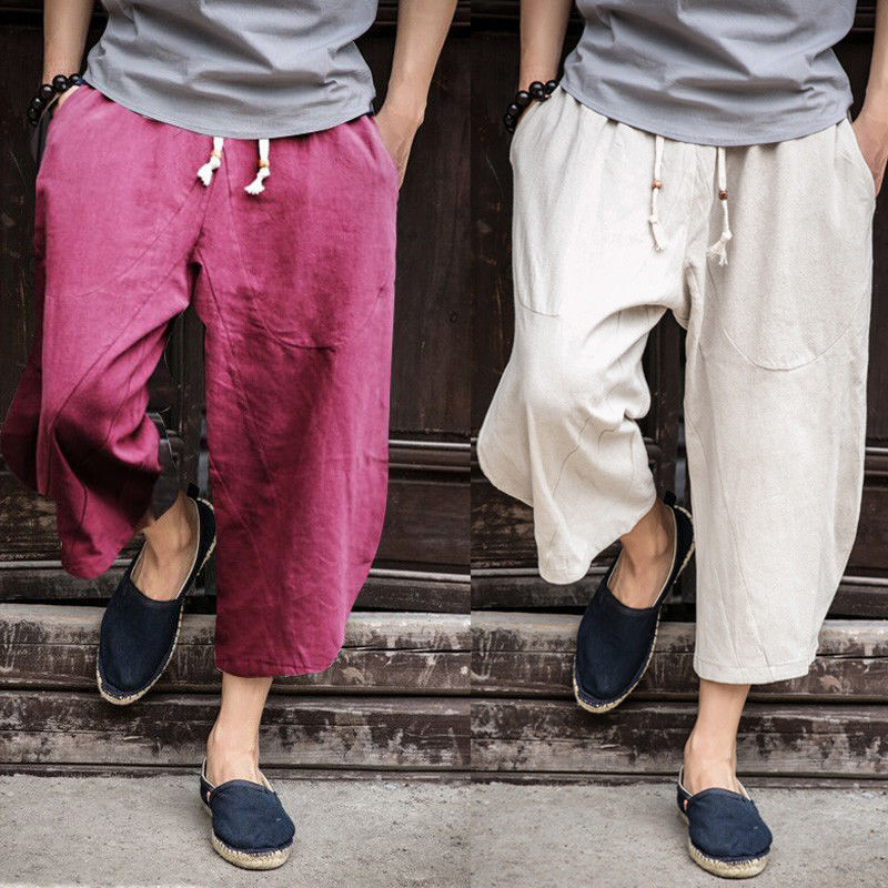 Mens Wide Leg Pants Linen Baggy Cropped Harem Casual Comfort