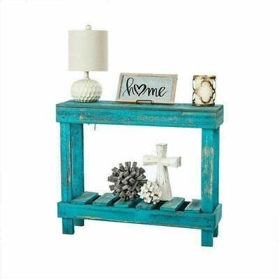 Entry Table Rustic Farm Console Narrow Small Space Saving Turquoise Handmade USA