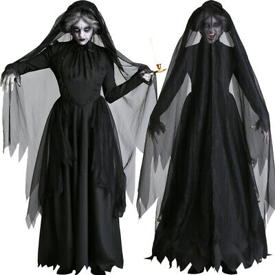 Scary Halloween Costumes For Womens 2019 (2019 Women Halloween Ghost Bride Cosplay Costume Scary Witch Vampire Black)