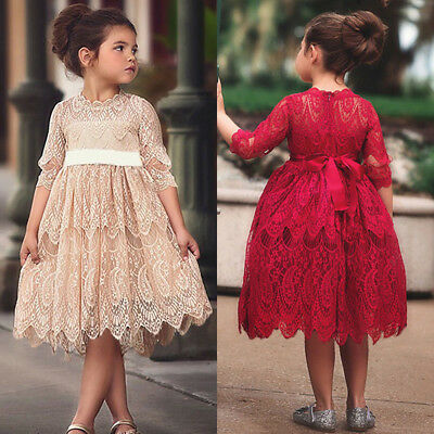 USA XMAS Toddler Kids Baby Girl Lace Flower Dress Wedding Party Princess - Lace Flower Girls Dresses