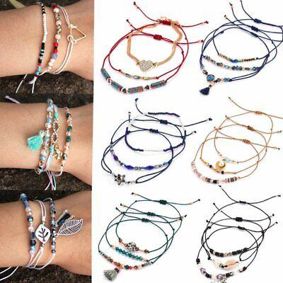 3Pcs/set Boho Beaded Crystal Infinity Tassel Women Bracelets Friendship Gift New](Beaded Friendship Bracelets)