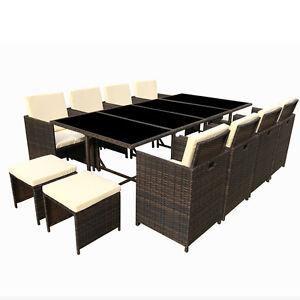 poly rattan essgruppe polyrattan braun lounge garten garnitur gartenm bel neu ebay. Black Bedroom Furniture Sets. Home Design Ideas
