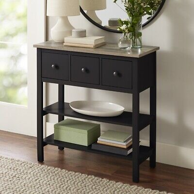 NEW BETTER HOMES & GARDENS LAUREL CONSOLE TABLE, BLACK *DISTRESSED