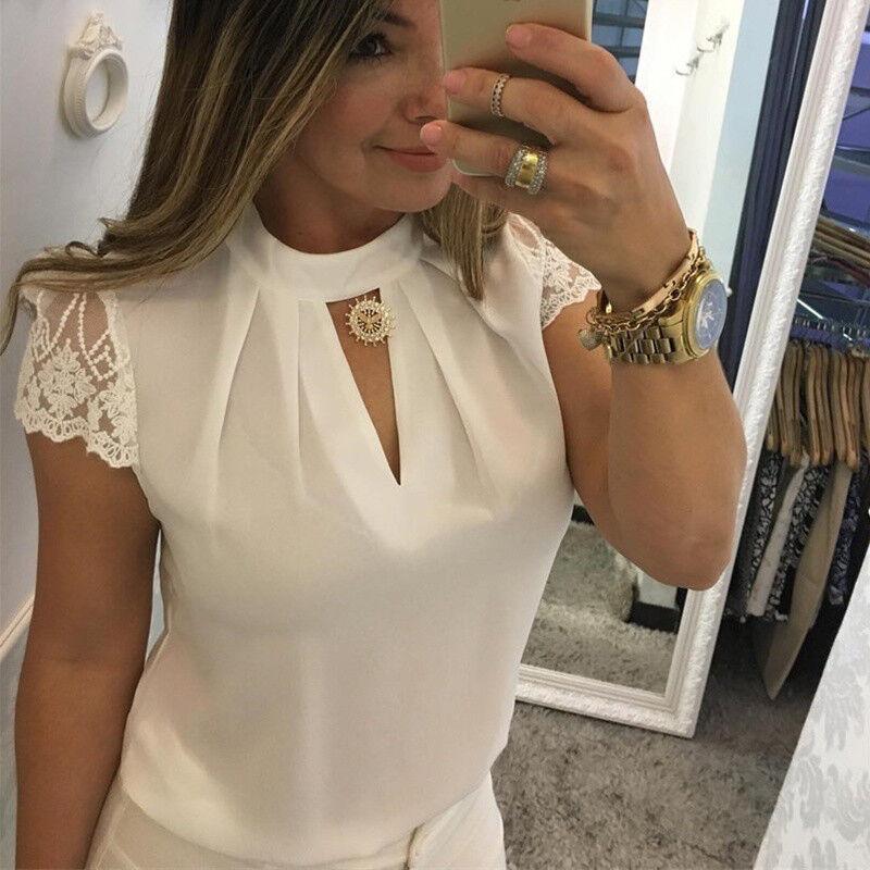 Damen Chiffon Sommer Bluse Stehkragen Spitze Kurzarm Top Shirt Tunika Oberteil