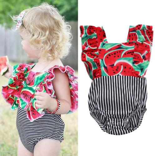 US Newborn Kids Baby Girls Clothes Floral Outfits Set Jumpsu