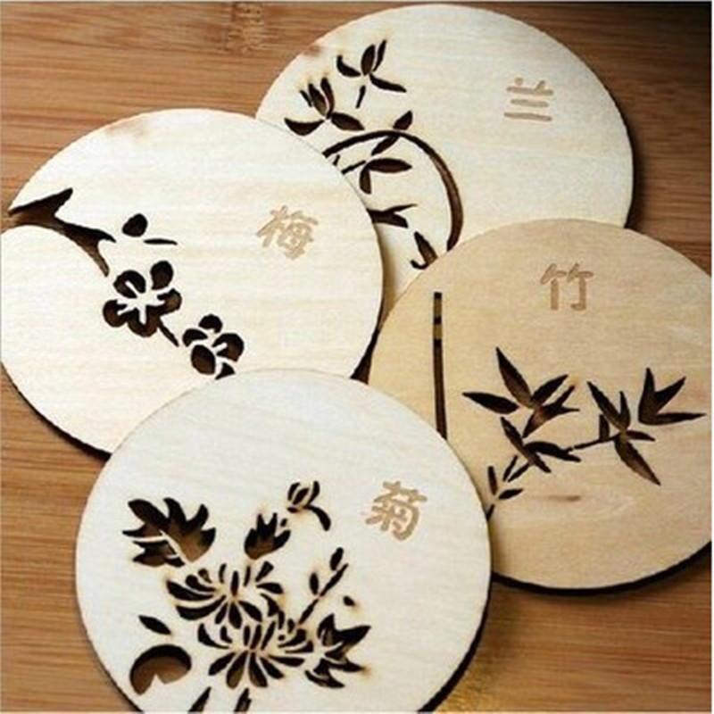 chinesische blumen holzschnitzerei home coasters tisch. Black Bedroom Furniture Sets. Home Design Ideas