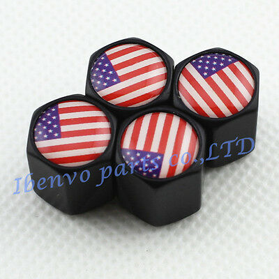 Black Styling Metal Car Wheel Tyre Tire Stem Air Valve Cap For U S  Old Glory
