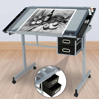 Adjustable Rolling Drawing Drafting Table Tempered Glass Art Craft Work Station (Elf Crafts)