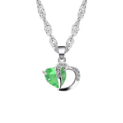 Collar Corazón Estrás Mujer Niña Joyas Cadena Colgante Cristal Verde