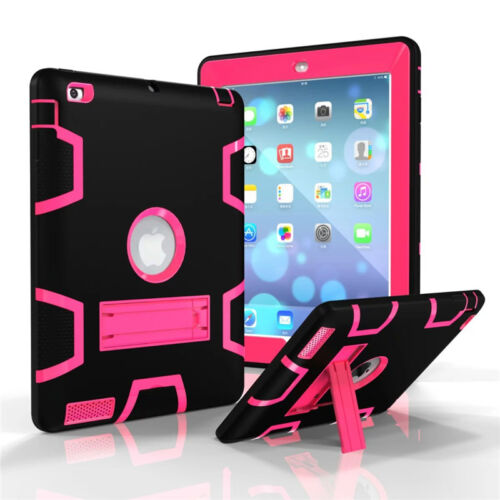 For Apple iPad Shockproof Military Heavy Duty Rubber With Hard Stand Case Cover