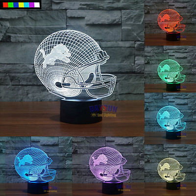 Free Shipping NFL Detroit Lions 3D Night Light 7 Colors Change LED Table Lamp