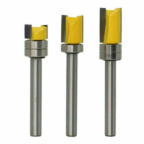 3 tlg Bündigfräser mit Kugellager aus Hartmetall, Schaft 6mm