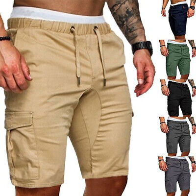 USSTOCK Mens Summer Shorts Gym Sport Running Workout Cargo Pants Jogger Trousers ()