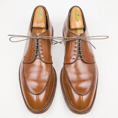 ALDEN 1192 Tan Brown Pebble Grain Leather Split Toe Blucher Dress Shoes - 10.5 D